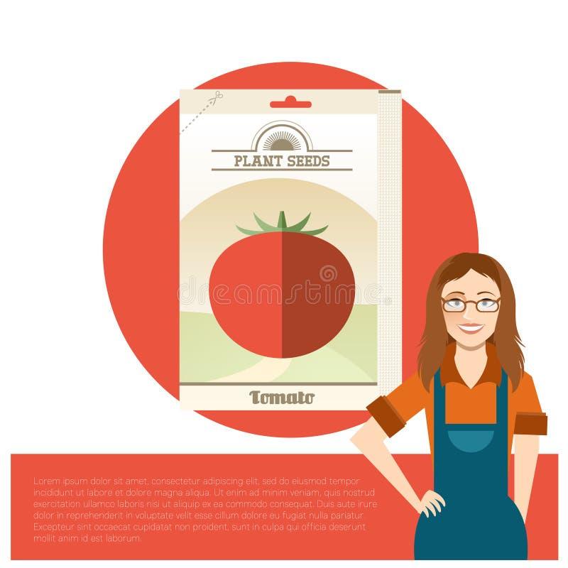 Paquet de graines de tomate illustration de vecteur