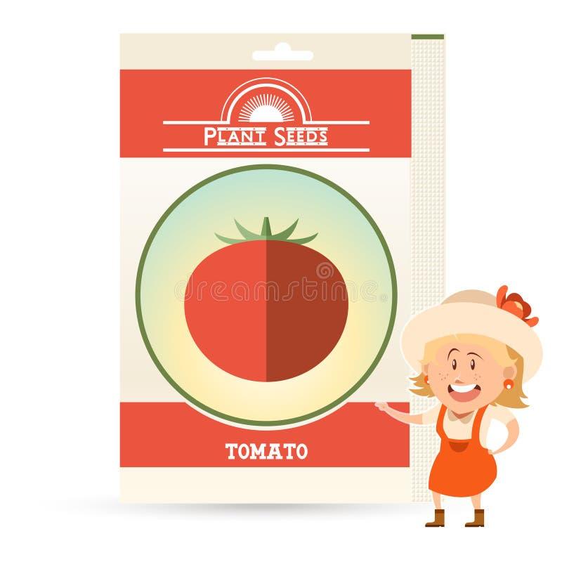 Paquet de graines de tomate illustration stock
