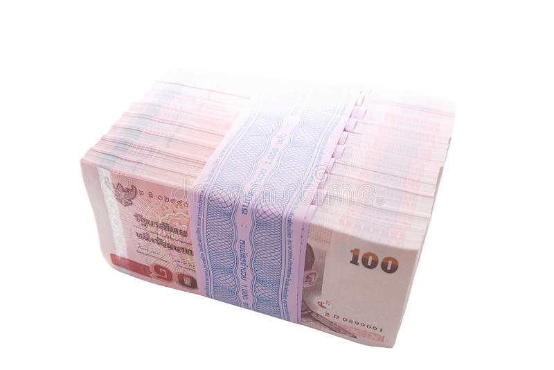 Paquet de joint de 10 paquets de 100 de nouvelles centièmes notes de baht photos stock