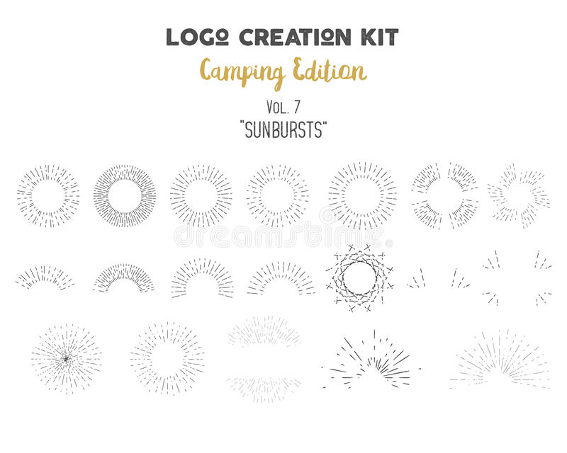 Paquet de kit de création de logo Ensemble d'édition de camping Formes et éléments de rayons de soleil de vecteur Créez votre pro illustration stock