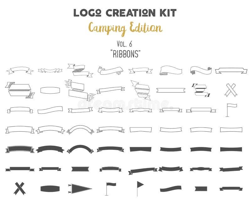 Paquet de kit de création de logo Ensemble d'édition de camping Les formes et les éléments de vecteur de rubans créent votre prop illustration de vecteur