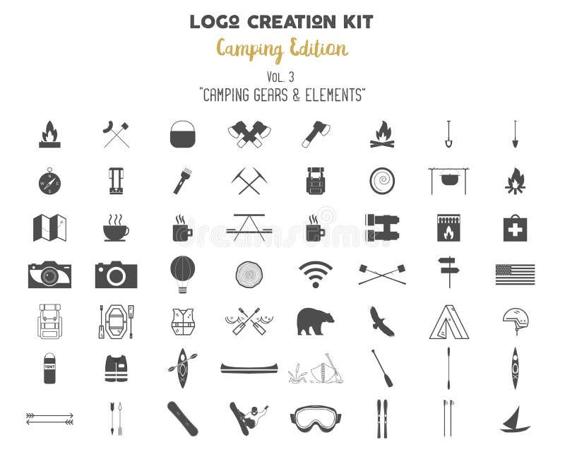 Paquet de kit de création de logo Ensemble d'édition de camping Vitesse de voyage, symboles de camp de vecteur et éléments illustration libre de droits