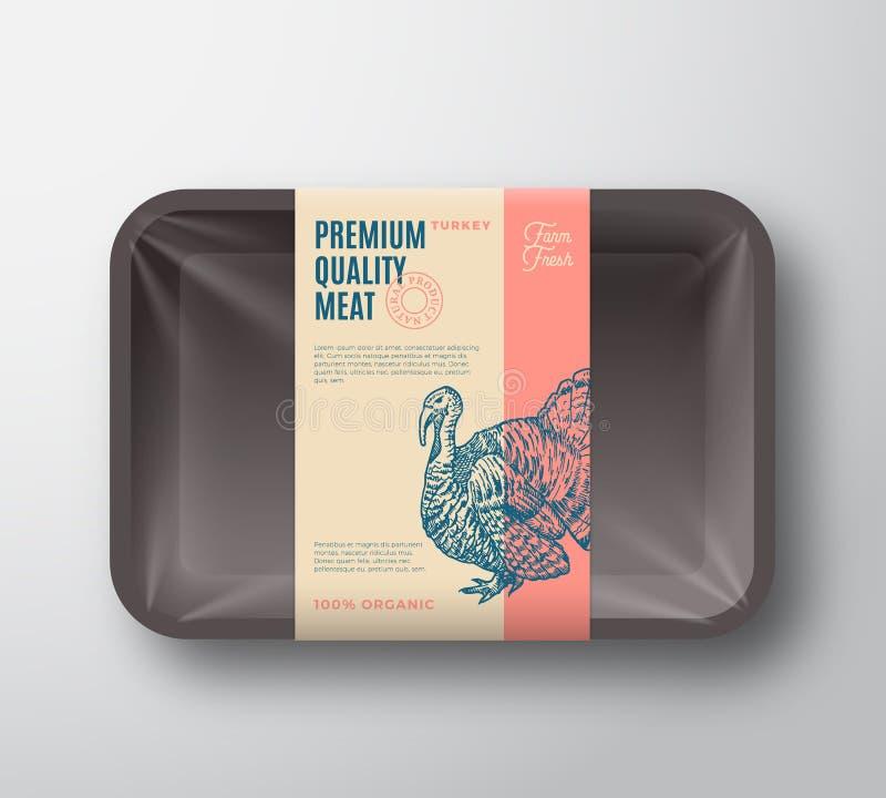 Paquet de la meilleure qualité de la Turquie de qualité Volaille abstraite de vecteur Tray Container de plastique avec la couvert illustration stock