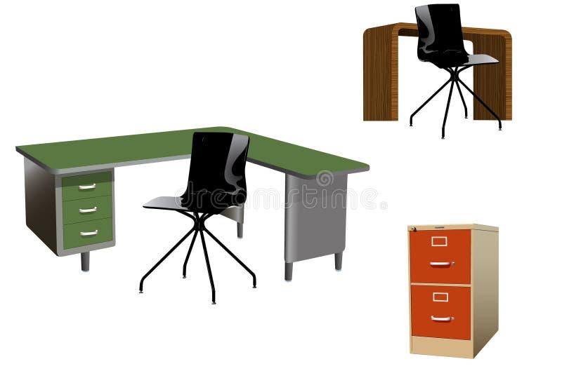 Paquet de meubles de bureau de vecteur photos libres de droits