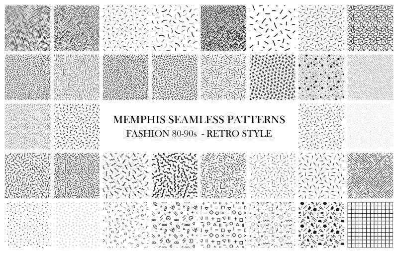 Paquet de modèles sans couture de Memphis Mode 80-90s Textures noires et blanches illustration de vecteur