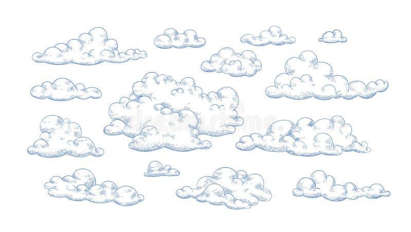 Paquet de nuages pelucheux dessinés avec des courbes de niveau Collection d'éléments décoratifs romantiques de conception d'isole illustration de vecteur