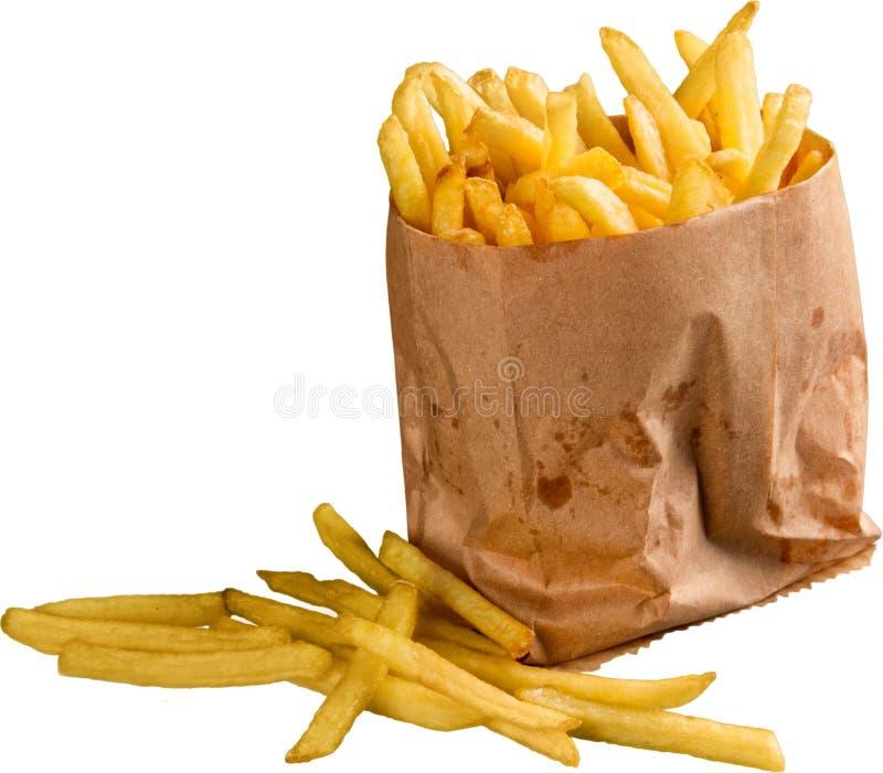 Paquet de papier des pommes frites d'isolement sur le blanc photographie stock