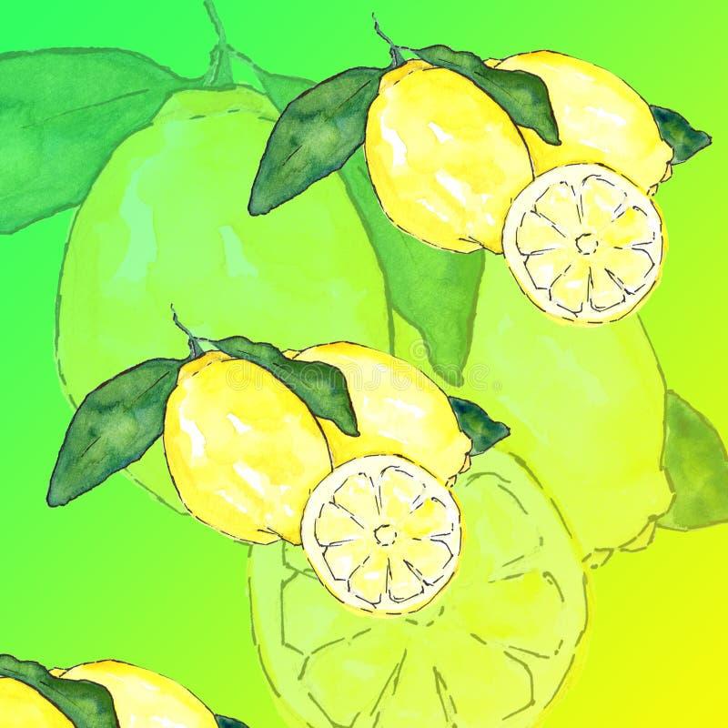 Paquet de papier de Digital d'été : Été coloré de papier de pastèque de limonade de citron d'ananas de fond de fruits tropicaux d illustration libre de droits