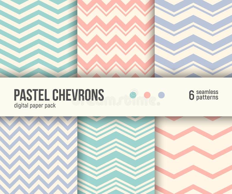 Paquet de papier de Digital, 6 modèles en pastel de chevron, fond rayé géométrique minimal illustration de vecteur