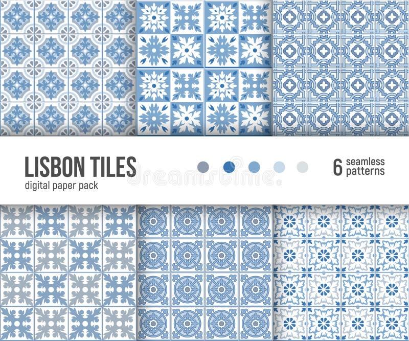 Paquet de papier de Digital, 6 tuiles portugaises de modèles de carrelages, bleues et blanches de Delft illustration stock