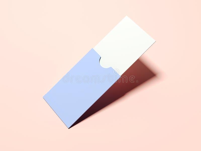 Paquet de papier pourpre avec la carte de visite professionnelle vierge de visite rendu 3d illustration de vecteur