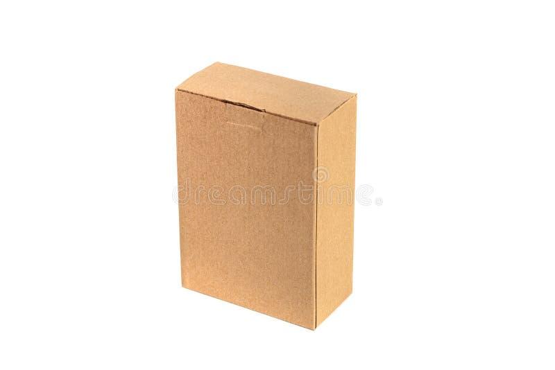 Paquet de plateau de Brown ou de papier brun ou boîte en carton d'isolement sur W image libre de droits