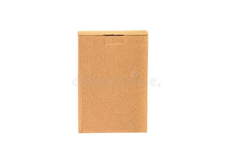 Paquet de plateau de Brown ou de papier brun ou boîte en carton d'isolement sur W images stock