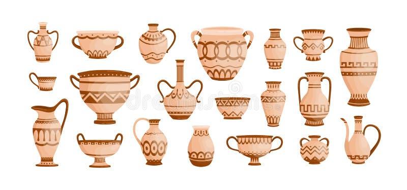 Paquet de poterie du grec ancien d'isolement sur le fond blanc Collection de pots, de vases et d'amphores d'argile d?cor?s par illustration libre de droits