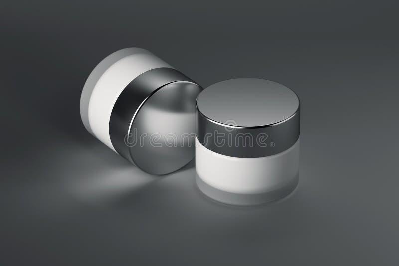 Paquet de produit de beauté, pot crème rendu 3d illustration de vecteur
