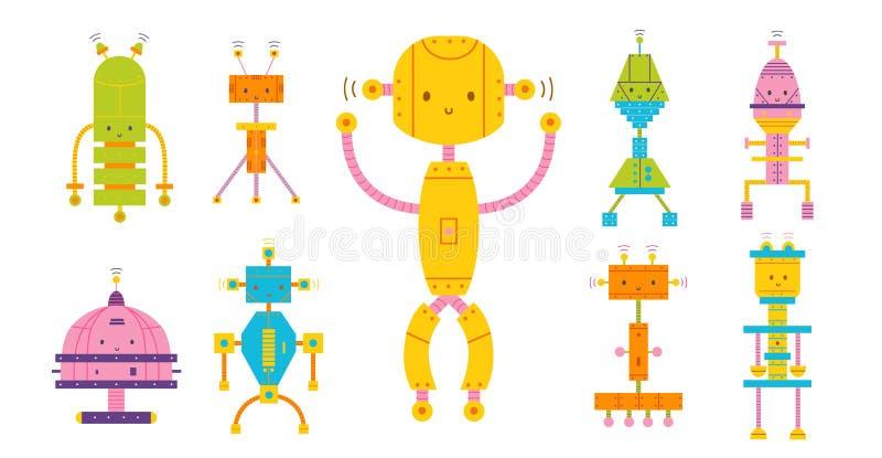 Paquet de robots heureux adorables colorés d'isolement sur le fond blanc Placez des divers cyborgs de jouet, électronique drôle illustration de vecteur
