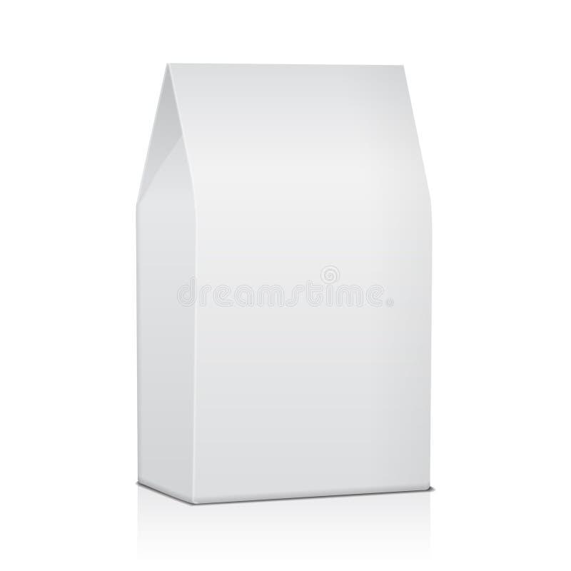 Paquet de sac de nourriture de papier blanc de café, de sel, de sucre, de poivre, d'épices ou de casse-croûte Moquerie de vecteur illustration libre de droits
