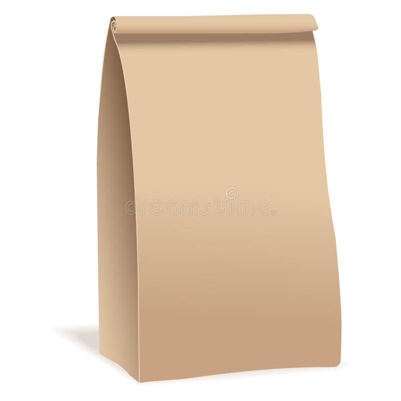 Paquet de sac de nourriture de papier de Brown Calibre réaliste de maquette de vecteur Conception d'emballage de vecteur illustration de vecteur