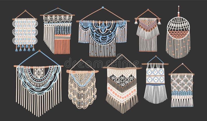 Paquet de tentures de macramé d'isolement sur le fond noir Ensemble de décorations handcrafted de maison dans le style scandinave illustration de vecteur