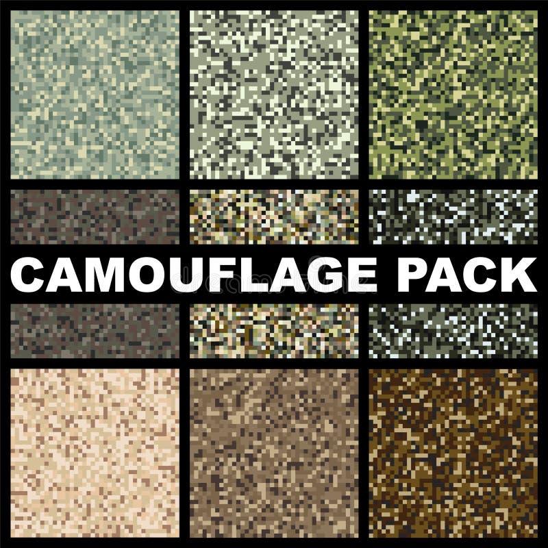 Paquet de texture de camouflage For?t de calibre de mod?le, marais, jungle, d?sert pour chasser ou v?tements militaires de textil illustration stock