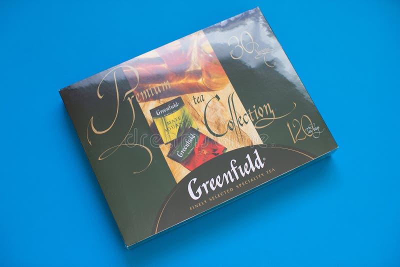 Paquet de thé de Greenfield avec beaucoup de différentes saveurs image libre de droits