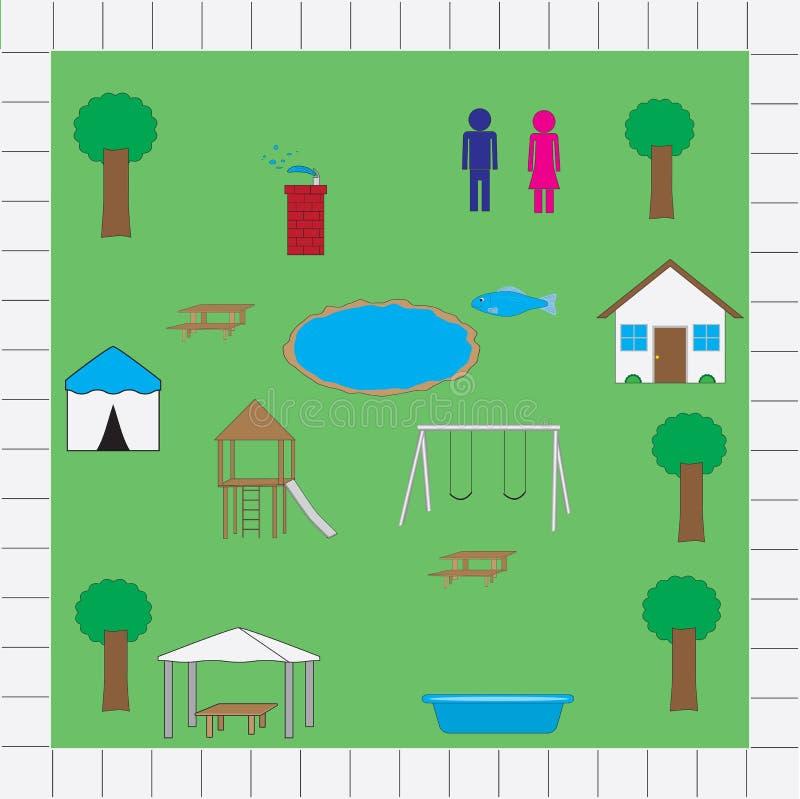 Paquet de vecteur d'icônes de carte de parc illustration stock