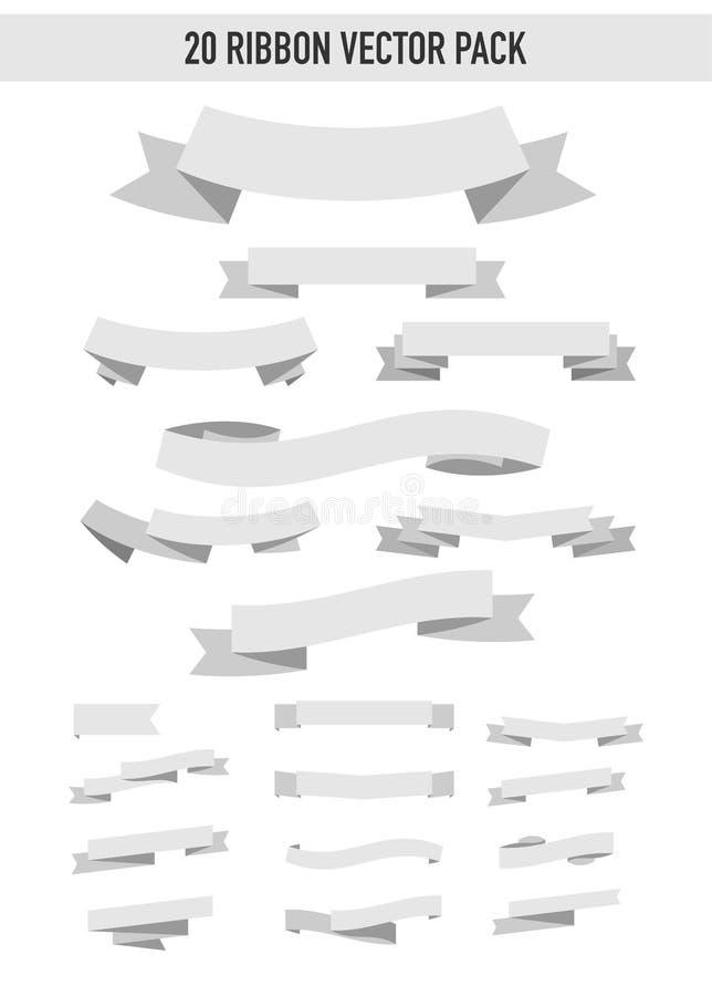 paquet de vecteur de 20 rubans illustration libre de droits
