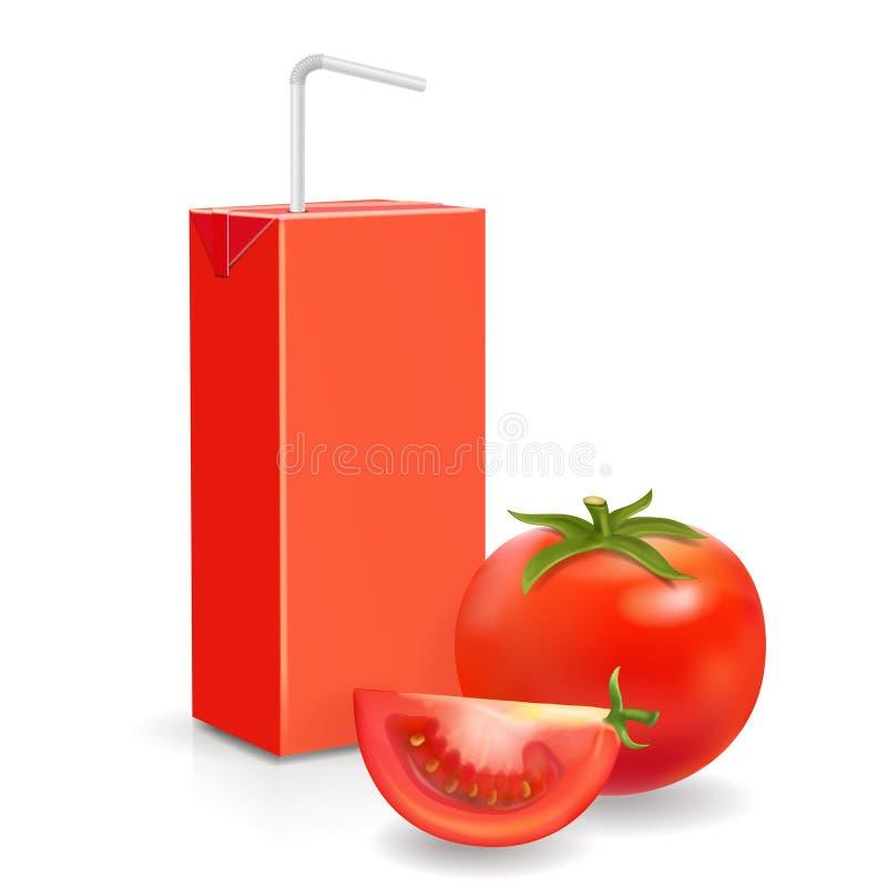 Paquet de vecteur de jus et de paille de tomates Paquet réaliste de jus illustration stock