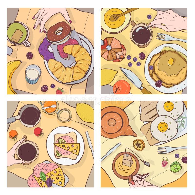 Paquet de vues supérieures des repas servis de petit déjeuner, de la nourriture délicieuse, des desserts doux et des mains des pe illustration stock