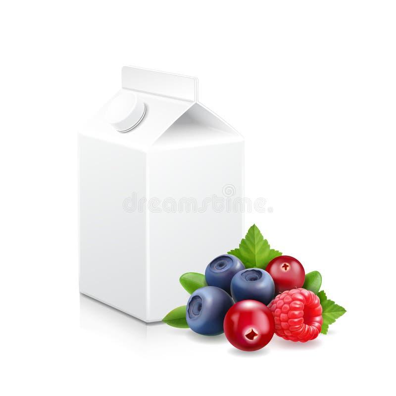 Paquet de yaourt aux fruits de forêt Illustration mélangée de baie et de paquet illustration stock