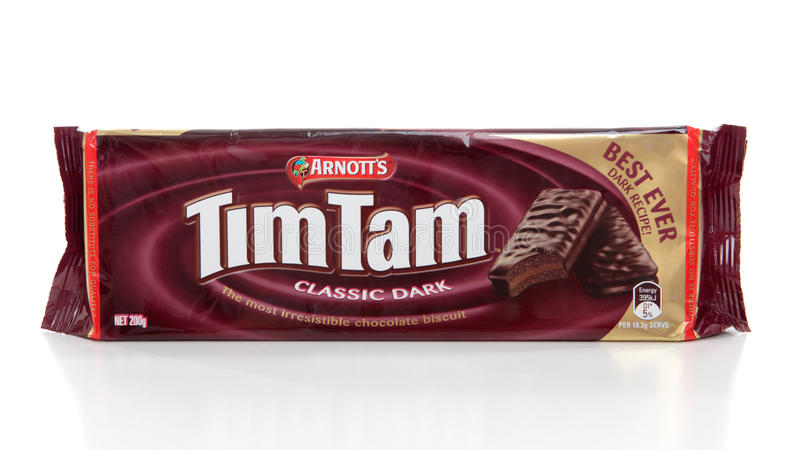 Paquet des biscuits de chocolat de Tim Tam photographie stock libre de droits