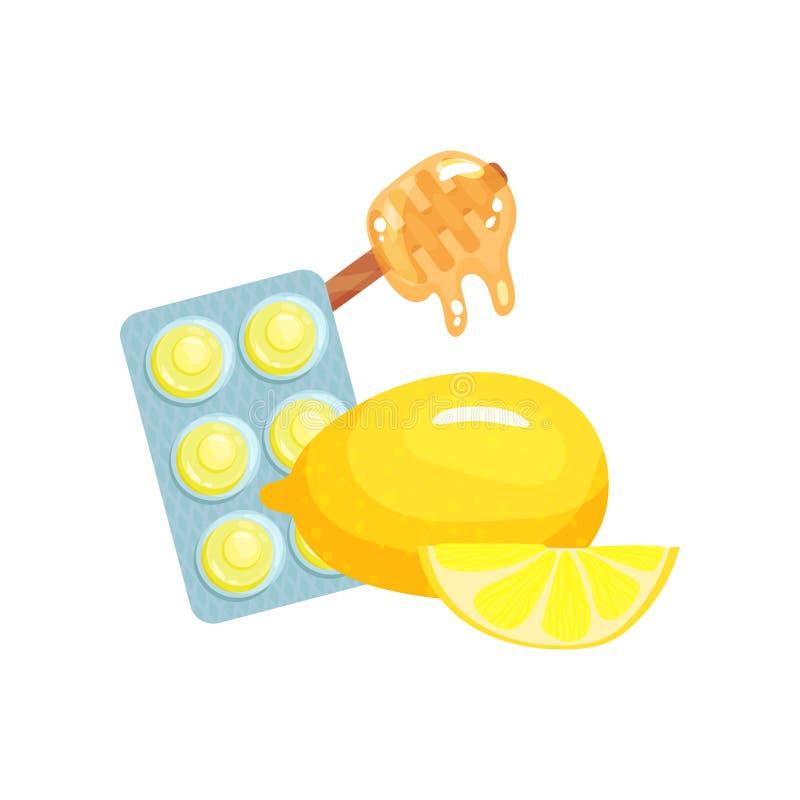 Paquet des pastilles avec des goûts de saveur de fruit de miel et de citron, suçant des sucreries pour la bande dessinée de remèd illustration libre de droits