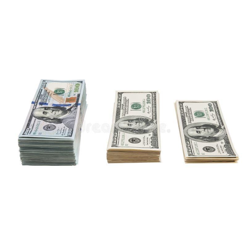 Paquet des USA 100 dollars de billets de banque d'isolement sur le fond blanc photographie stock libre de droits