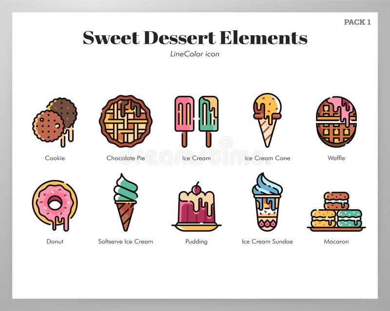 Paquet doux de LineColor d'éléments de dessert illustration stock