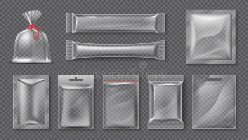 Paquet en plastique Maquette claire réaliste de sac, ensemble transparent de paquet de produit alimentaire 3d, aluminium brillant illustration de vecteur