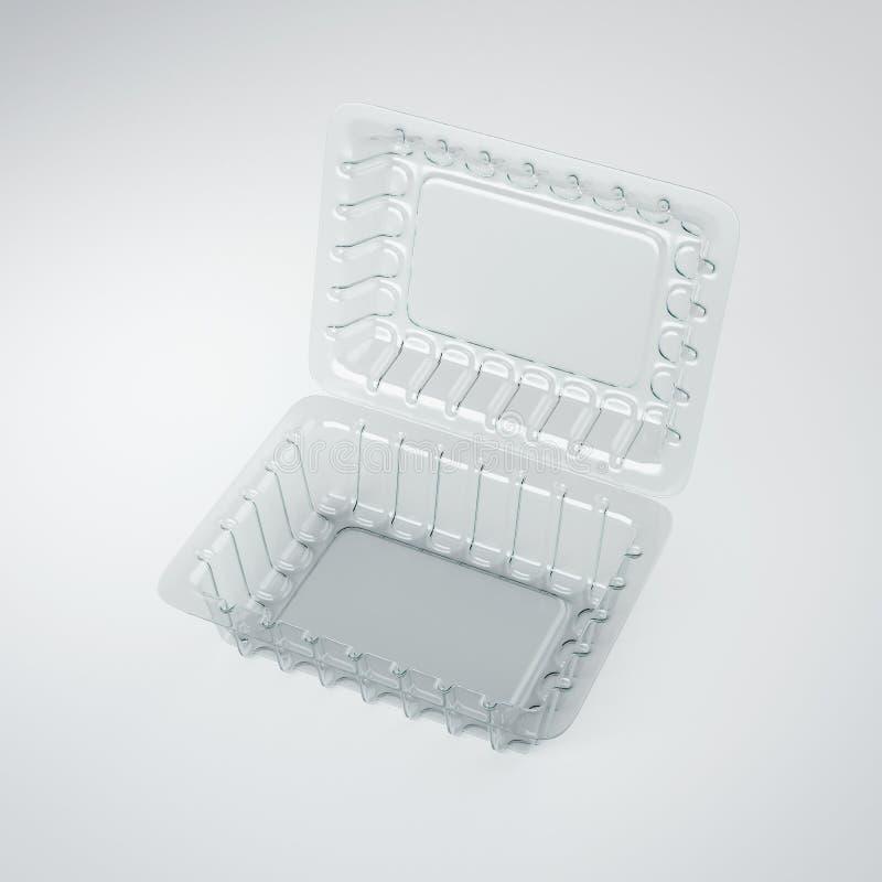 Paquet en plastique ouvert de nourriture rendu 3d photos stock
