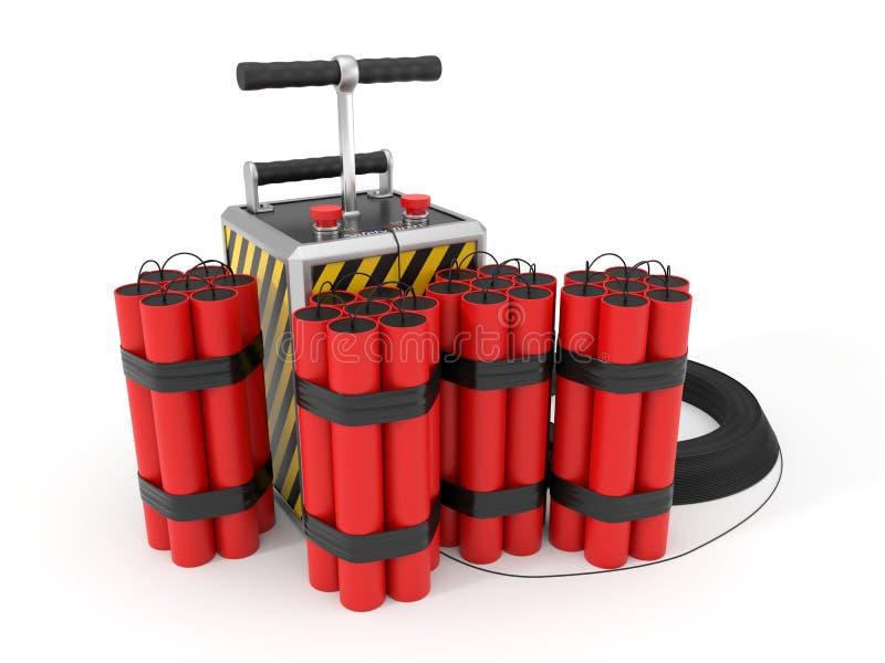 Paquet et detenator de dynamite illustration 3D illustration de vecteur