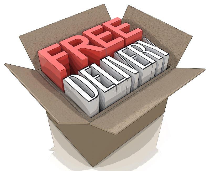 Paquet gratuit de la livraison d'embarquer le webshop en ligne d'Internet illustration libre de droits