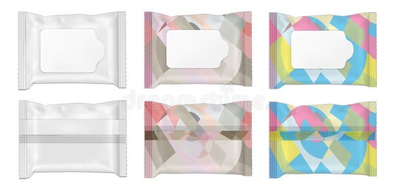 Paquet humide de couleur et blanc de chiffons avec l'aileron illustration libre de droits