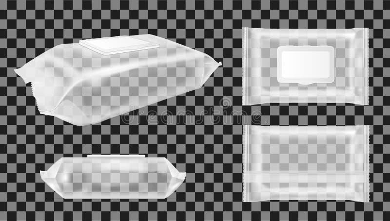 Paquet humide transparent de chiffons avec l'aileron Paquet vide de casse-croûte de nourriture pour les frites, la sucrerie et d' illustration de vecteur