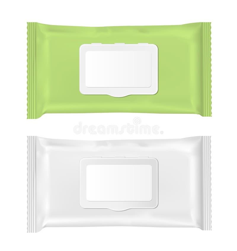 Paquet humide vert et blanc de chiffons avec l'aileron illustration libre de droits