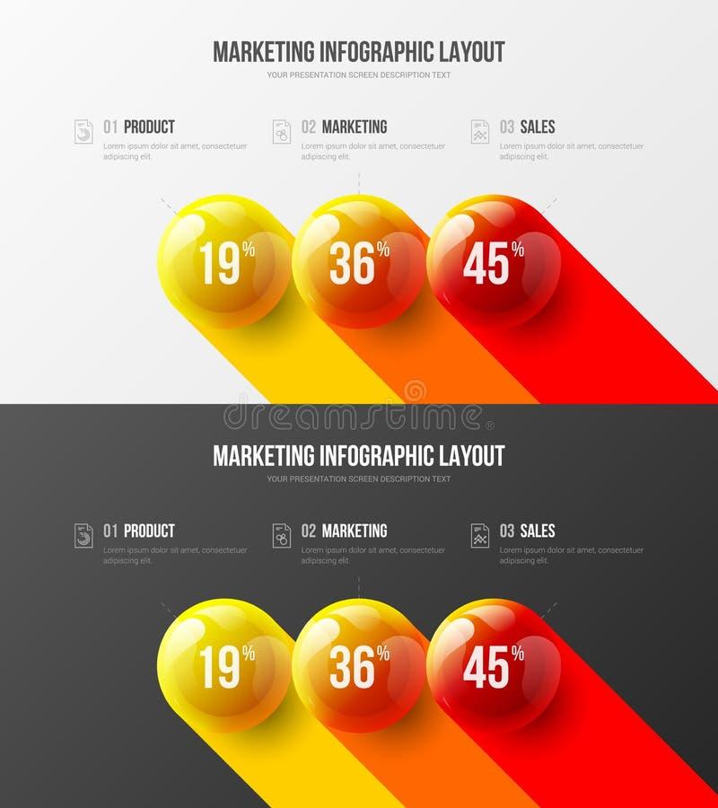 Paquet infographic de la qualité 3 d'option de vente d'analytics de présentation de vecteur de calibre d'entreprise de la meilleu illustration libre de droits