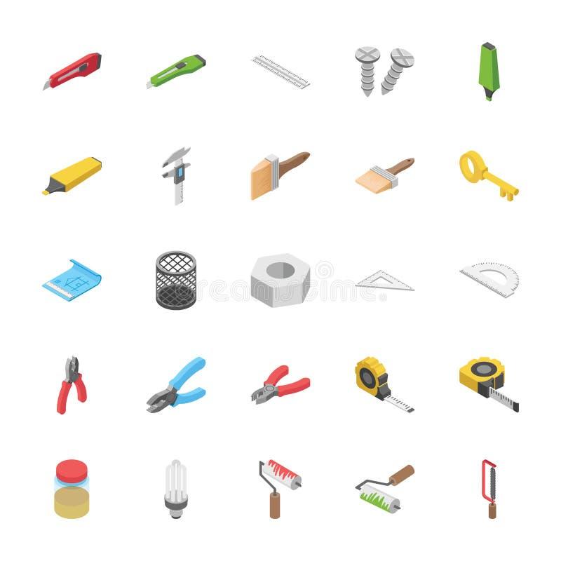 Paquet isométrique d'objets illustration libre de droits