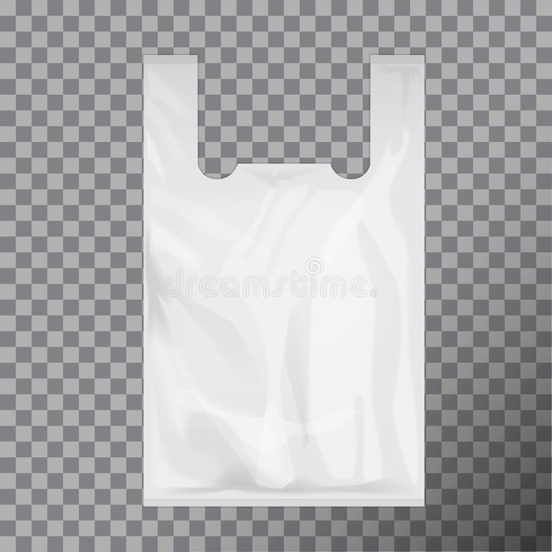 Paquet jetable blanc de sachet en plastique de T-shirt Transparent d'isolement par illustration de vecteur illustration libre de droits