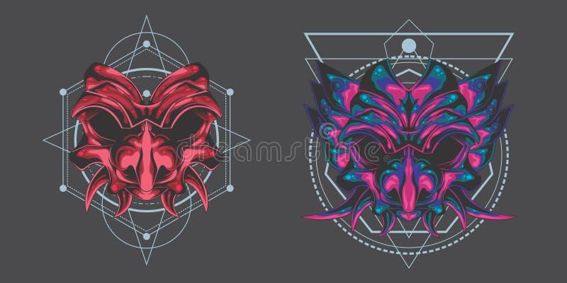 Paquet jumeau de masque de démon illustration stock