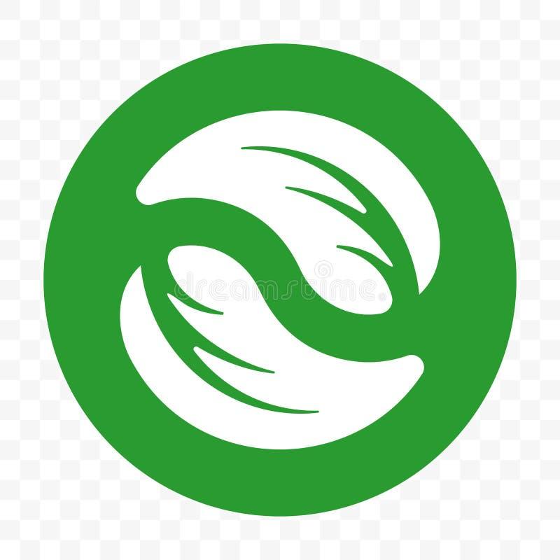Paquet libre en plastique recyclable, calibre de empaquetage biodégradable d'icône de vecteur Bio label vert dégradable de feuill illustration libre de droits