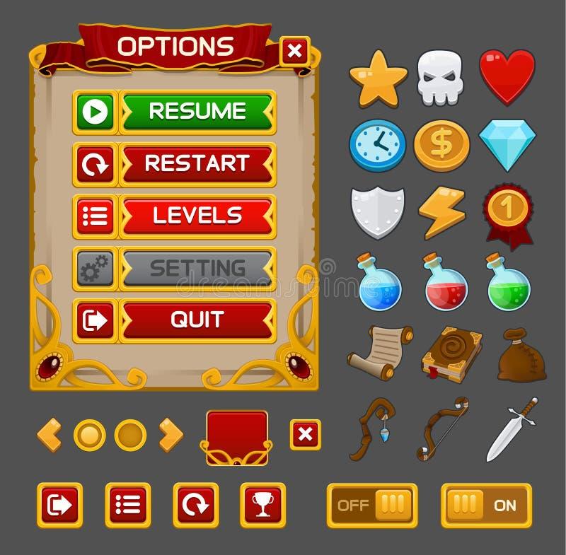 Paquet médiéval de GUI de jeu illustration libre de droits