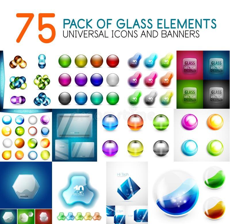 Paquet méga d'éléments brillants en verre de conception de vecteur illustration de vecteur