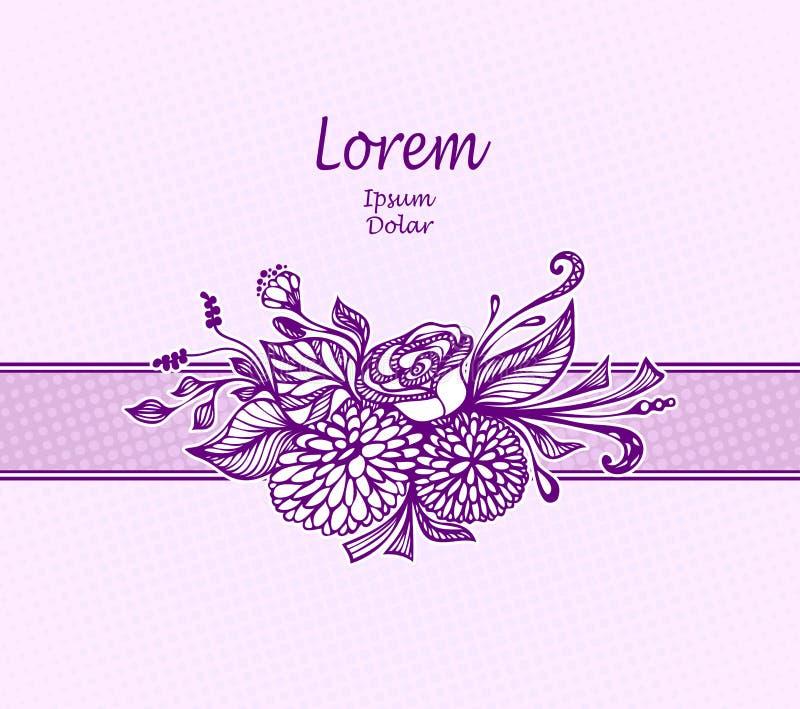 Paquet ou carte postale de conception de calibre avec le bouquet tiré par la main de fleurs dans le lilas illustration stock