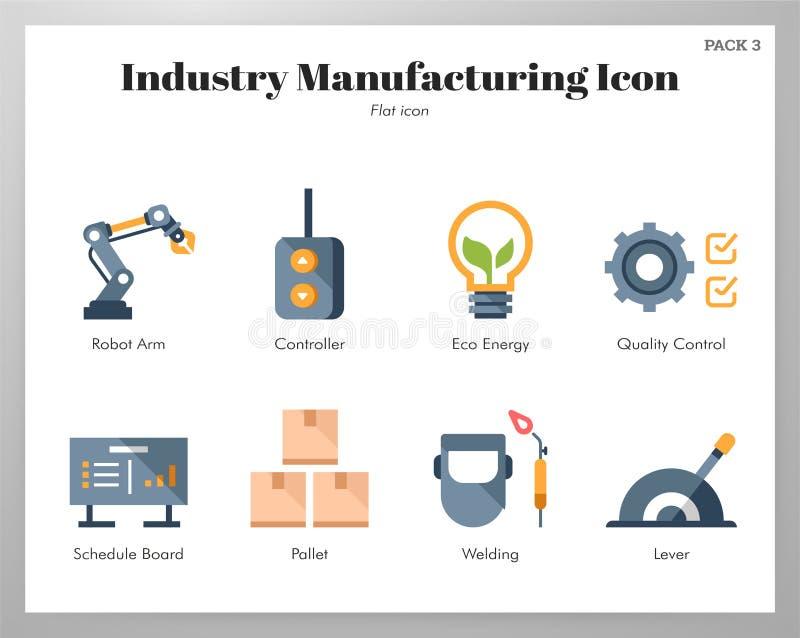 Paquet plat d'icônes de fabrication d'industrie illustration libre de droits
